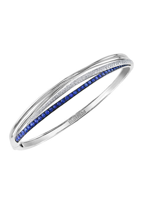 1/3 ct. t.w. Diamond and 1.12 ct. t.w. Sapphire Bracelet in 14K White Gold