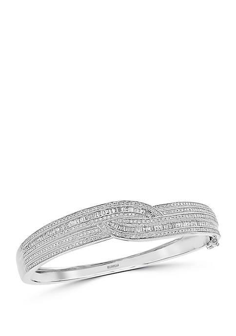 Diamond Twist Bangle in 14k White Gold
