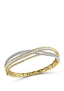 Diamond Twist Bangle in 14k White and Yellow Gold