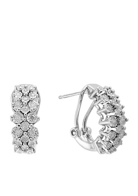 Effy® Sterling Silver Illusion Set Diamond Hoop Earrings
