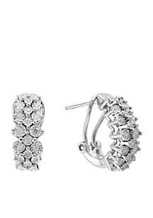 Effy® Sterling Silver Illusion Set Diamond Hoop Earrings