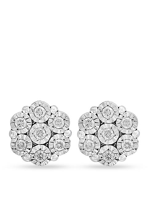 Effy® Sterling Siver Diamond Flower Illusion Stud Earrings