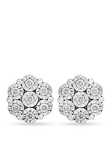 Sterling Siver Diamond Flower Illusion Stud Earrings