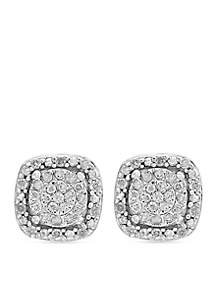Effy® Sterling Silver Diamond Square Illusion Stud Earrings