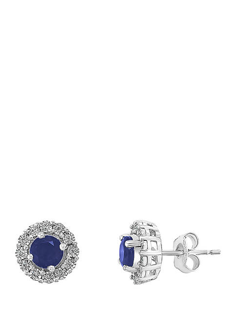 1/10 ct. t.w. Diamond, 1.14 ct. t.w. Natural Sapphire Earrings in 14k White Gold