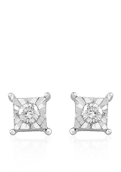 0.20 ct. t.w. Round Diamond In Square Setting Stud Earrings