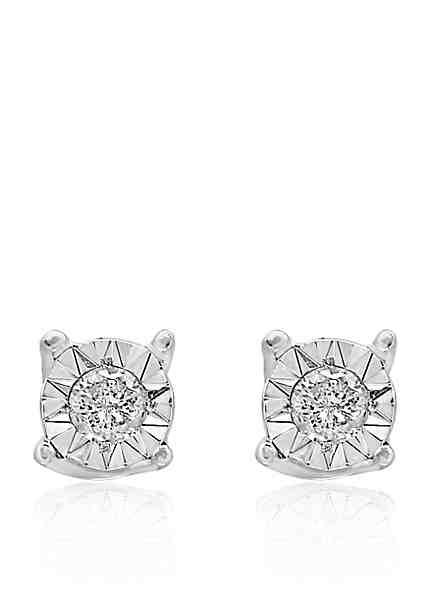 Effy 0 10 Ct T W Diamond Stud Earrings In Sterling Silver
