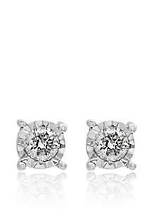 t.w. Diamond Stud Earrings in Sterling Silver