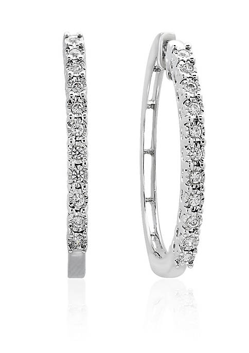 Effy® 0.24 ct. t.w. Diamond Hoop Earrings in