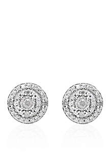 0.10 ct. t.w. Diamond Cluster Stud Earrings in Sterling Silver