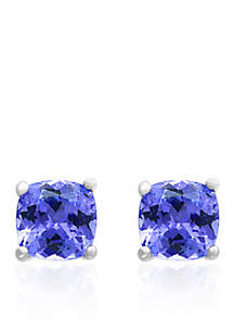 Tanzanite Stud Earrings in Sterling Silver