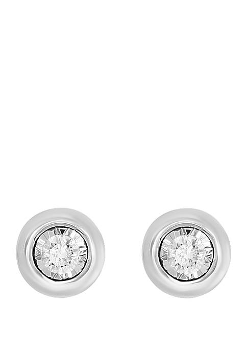 1/5 ct. t.w. Diamond Bezel Set Earrings in 14k White Gold