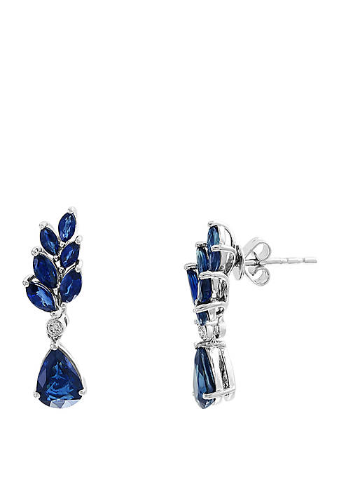 0.05 ct. t.w. Diamond and 4.09 ct. t.w. Natural Sapphire Earrings in 14k White Gold