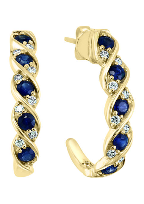 1/5 ct. t.w. Diamond and 1.05 ct. t.w. Sapphire Hoop Earrings in 14K Yellow Gold