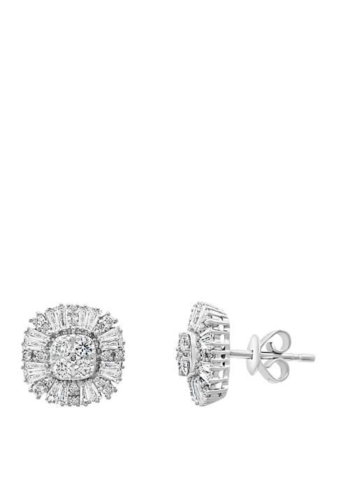 1.12 ct. t.w. Diamond Earrings in 14K White Gold
