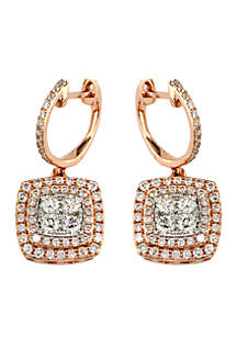 Effy® 1.29 ct. t.w. Diamond Drop Earrings in 14k White Gold and Rose Gold