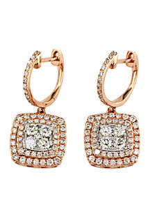 1.29 ct. t.w. Diamond Drop Earrings in 14k White Gold and Rose Gold
