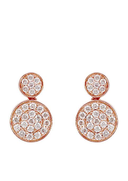 3/4 ct. t.w. Diamond Drop Earrings in 14k Rose Gold