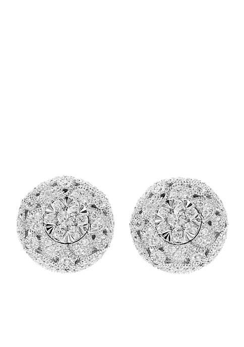 1/2 ct. t.w. Diamond Button Earrings in 14k White Gold