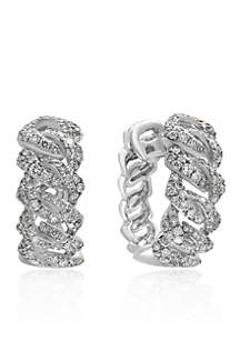 Effy® 1.17 ct. t.w. Diamond Link Hoop Earrings in 14K White Gold