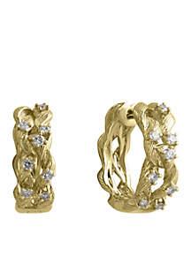 Effy® 3/8 ct. t.w. Diamond Hoop Earrings in 14k Yellow Gold