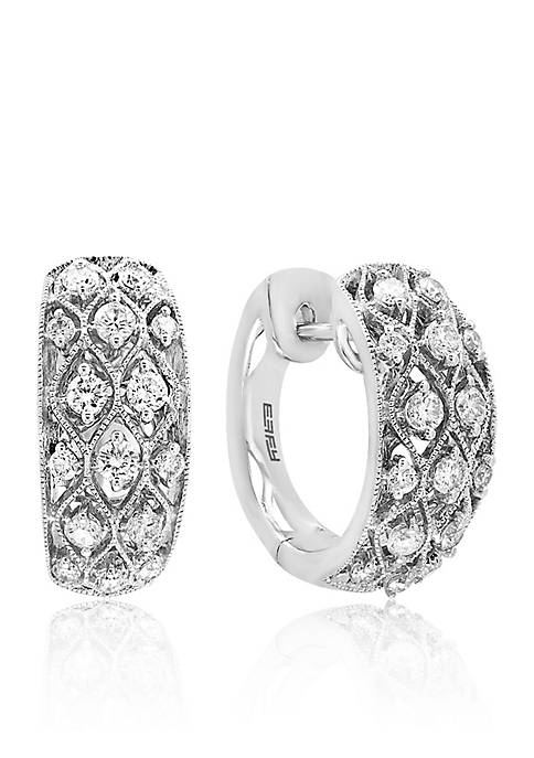 Effy® 0.66 ct. t.w. Diamond Crisscross Hoop Earrings