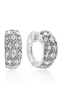 0.66 ct. t.w. Diamond Crisscross Hoop Earrings in 14K White Gold