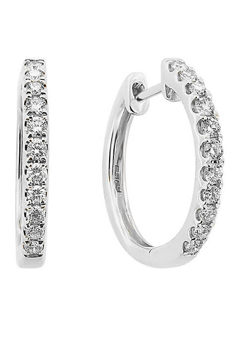 1/2 ct. t.w. diamond Hoop Earrings in 14k White Gold