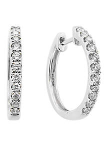 1/2 ct. t.w. diamond Hoop Earrings in 14k White Gold