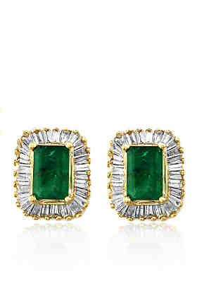 1463984c947 Effy® Emerald and Diamond Earrings in 14K Yellow Gold ...