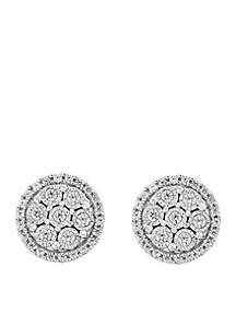 Sterling Silver Diamond Illusion Set Earrings