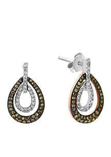 1/2 ct. t.w. Diamond Espresso Diamond Drop Earrings in 14k white Gold and Rose Gold