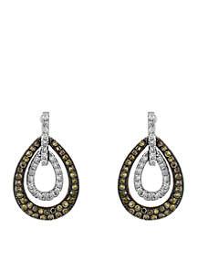 Effy® 1/2 ct. t.w. Diamond Espresso Diamond Drop Earrings in 14k white Gold and Rose Gold