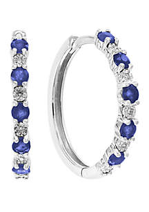 Effy® 0.4 ct. t.w. Diamond and 7/8 ct. t.w. Natural Sapphire Earrings in 14k White Gold
