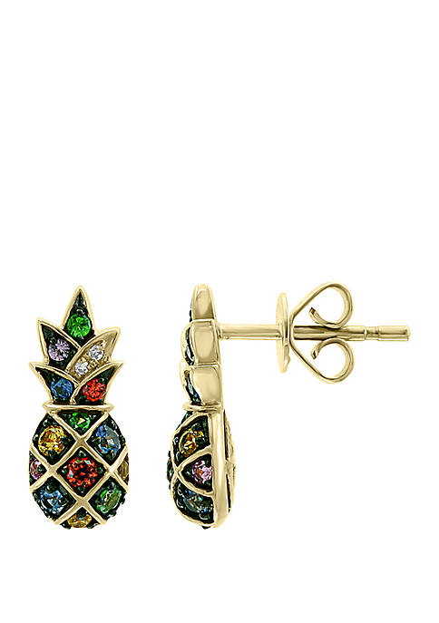 0.01 ct. t.w. Diamond and 0.45 ct. t.w. Multi Sapphire, Natural Ceylon Sapphire, Orange Sapphire, Pink Sapphire, Purple Sapphire, Tsavorite, Yellow Sapphire Pineapple Earrings In 14k Yellow Gold