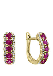 Effy® 1/4 ct. t.w. Diamond and 1.23 ct. t.w. Natural Ruby Earrings in 14k Yellow Gold