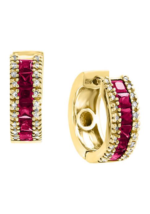 1/6 ct. t.w. Diamond and Ruby Hoop Earrings in 14k Yellow Gold