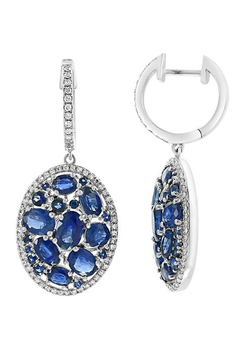 14k White Gold 3/8 ct. t.w. Diamond, 6.16 ct. t.w. Natural Sapphire Earrings