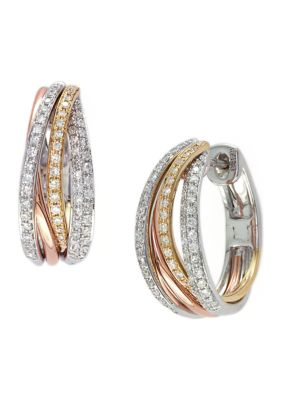 Effy Women 1 2 Ct. T.W. Diamond Hoop Earrings In 14K Tri-Tone Metal