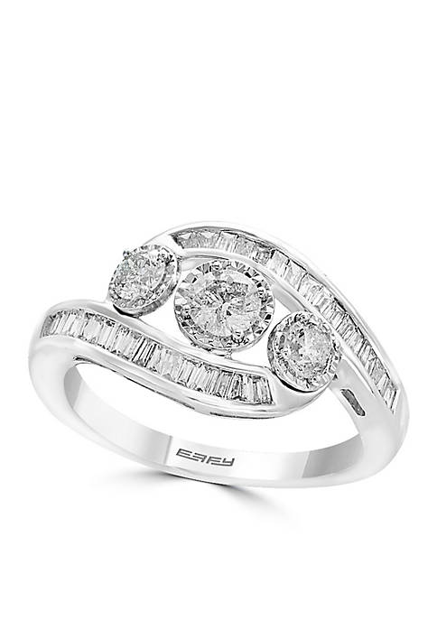 Effy® Sterling Silver Three Stone Illusion Diamond Ring