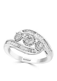 Effy® Sterling Silver Three Stone Illusion Diamond Ring