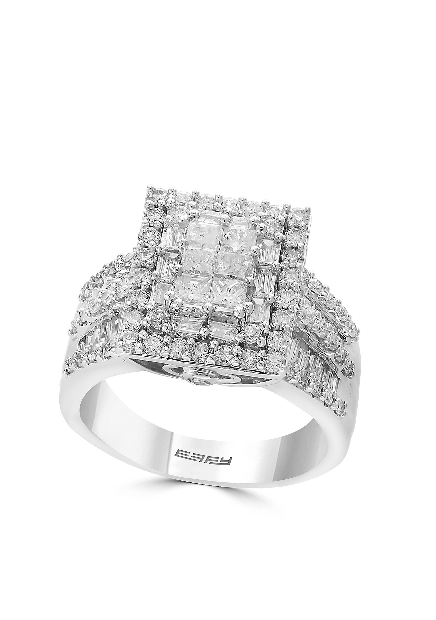 Effy® 2.0 ct. t.w. Diamond Cluster Ring in 14K White Gold | belk