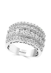 14K White Gold Round & Baguette Band