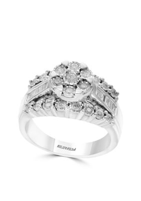 Effy Women Silver Diamond Round Cluster Ring - Gray - 7