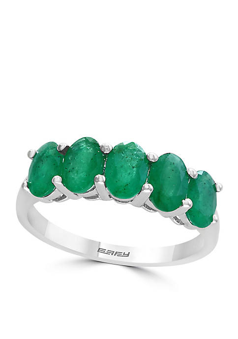 Effy® Sterling Silver Five-Stone Emerald Ring