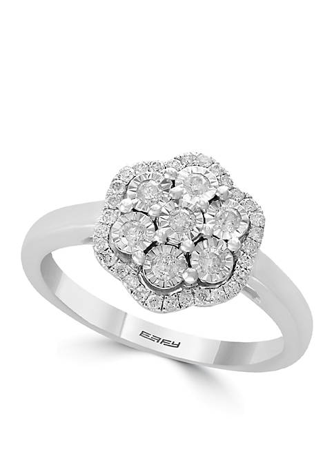 Effy® Sterling Silver Miracle Set Diamond Flower Ring