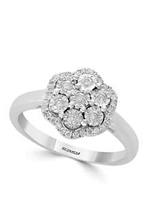 Sterling Silver Miracle Set Diamond Flower Ring