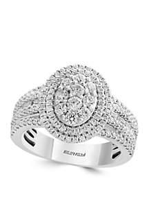 1.23 ct. t.w. Diamond Cluster Ring in 14k White Gold