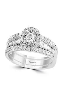 Effy® 2-Piece 7/8 ct. t.w. Diamond Bridal Ring Set in 14k White Gold
