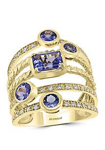 Effy® 1/4 ct. t.w. Diamond 2 ct. t.w. Tanzanite Ring in 10k Yellow Gold